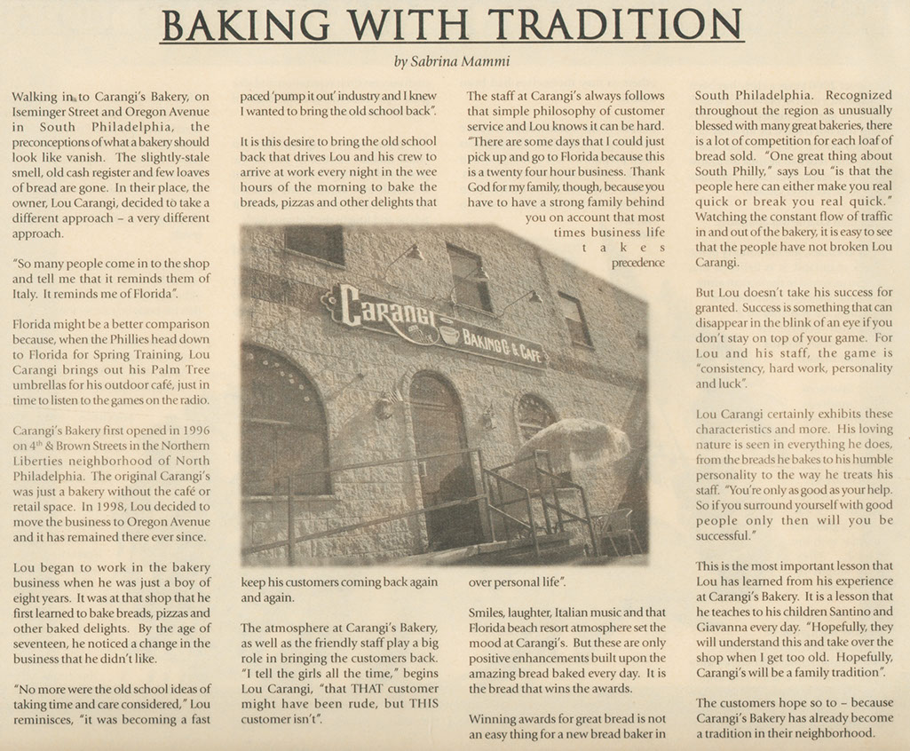 Carangi Baking Company News Article From Italian Newspaper